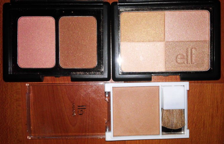 E.L.F. Studio Contouring Blush and Bronzing Powder - ST. LUCIA (New); E.L.F. Studio Bronzer - GOLDEN BRONZER (New); E.L.F. Essential Bronzer with Brush - GLOW (New)