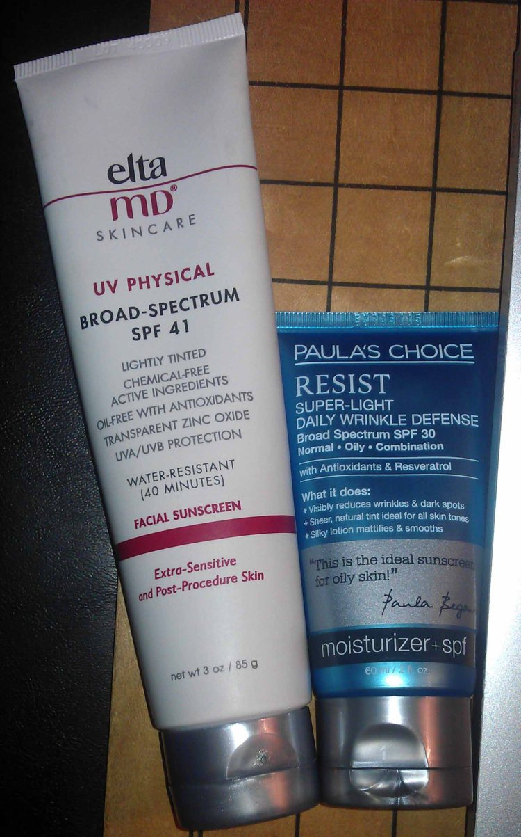 EltaMD  UV Physical SPF 41 Facial Sunscreen (Used); Paula's Choice RESIST Super-Light Daily Wrinkle Defense Moisturizer SPF 30 (New)