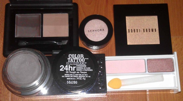 E.L.F. Studio Eyebrow Kit - MEDIUM (New); Sephora Eye Shadow - PEACH BEIGE No. 13 (Swatched); Bobbi Brown Shimmer Wash Eye Shadow - COPPER PENNY 20 (Swatched); Maybelline Color Tattoo 24 HR Eyeshadow - 35 Tough as Taupe (Used); Clinique Colour Surge Eye Shadow Duo - PINK SLATE/STRAWBERRY FUDGE (Swatched)